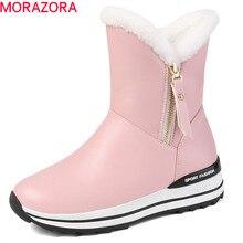 Morazora 2020 mais novo botas de neve mulheres manter quente tornozelo botas dedo do pé redondo zip sapatos plataforma plana mulher botas de inverno preto