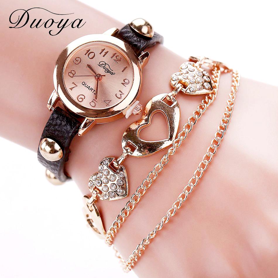 Rose Gold Watch And Heart Bracelet - black