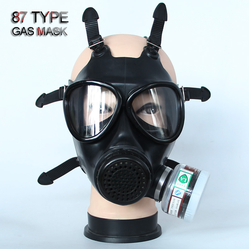 87 type gas Full mask Non military Respirator Gas mask high quality rubber High definition safety mask 4 toxic gas filters-in Masks from Security & Protection