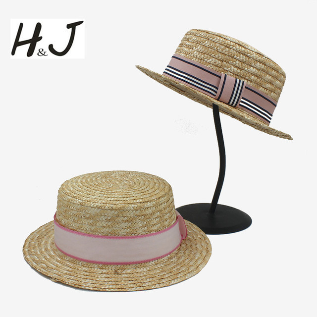 c9968d237f4 Fashion Summer Seaside Women Men Flat Straw Fedora Hat for Elegant Lady Pork  Pie Top Sun Hat for Gentleman Dad Boater Caps 58CM