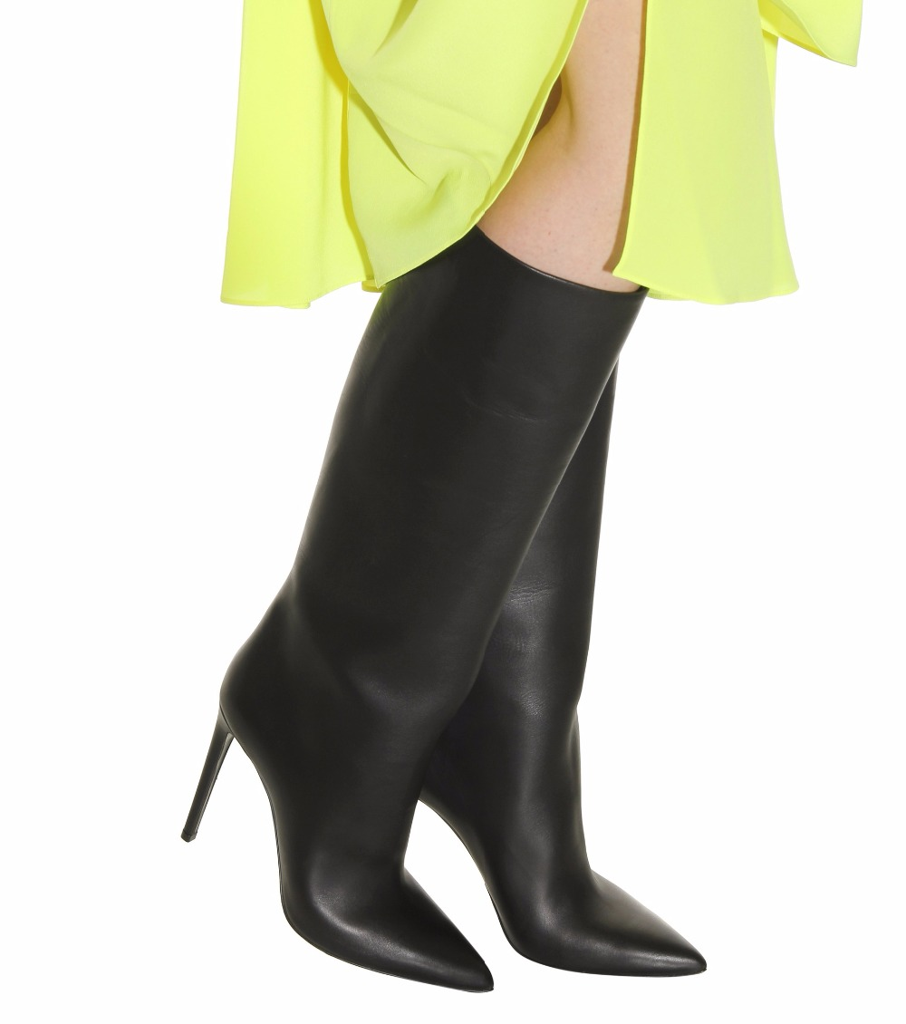 black knee high boots slip on high heel Pointed toe (5)