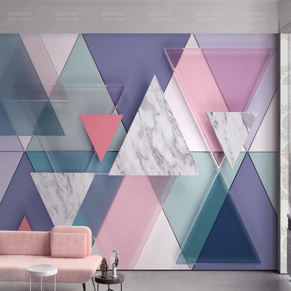 3D Abstract Geometric Triangle Glass Photo Mural Wallpaper for Living Room Large Size Marble Wall Paper Home Wall Decor Custom shinehome sunflower bloom retro wallpaper for 3d rooms walls wallpapers for 3 d living room home wall paper murals mural roll