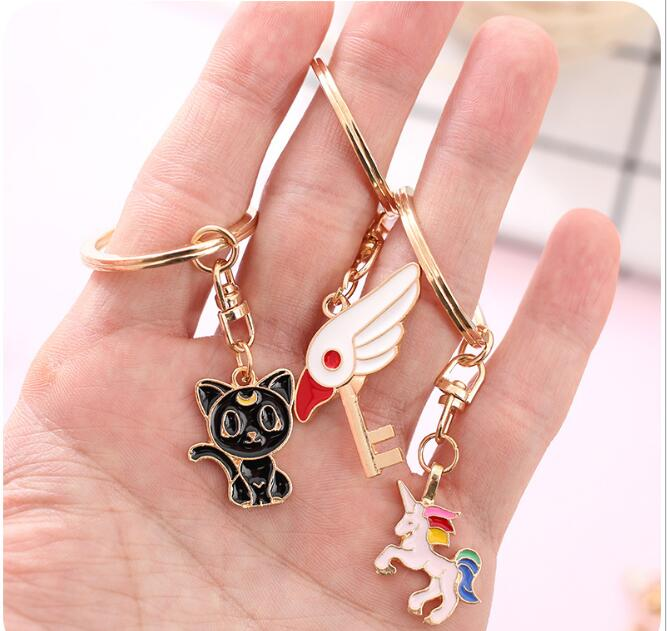 24pcs/lot 3D Japan Chic Luna Cat Unicorn Flamingo Cute Metal Key chain Ring Hanging Birthday Festival Party Takeaways Favors