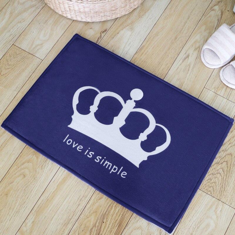 45*115cm Imperial Crown Coral Fleece Bathroom Mats Large Kids Rugs For Bedroom Kitchen Floor Door Mats Living Room Carpet