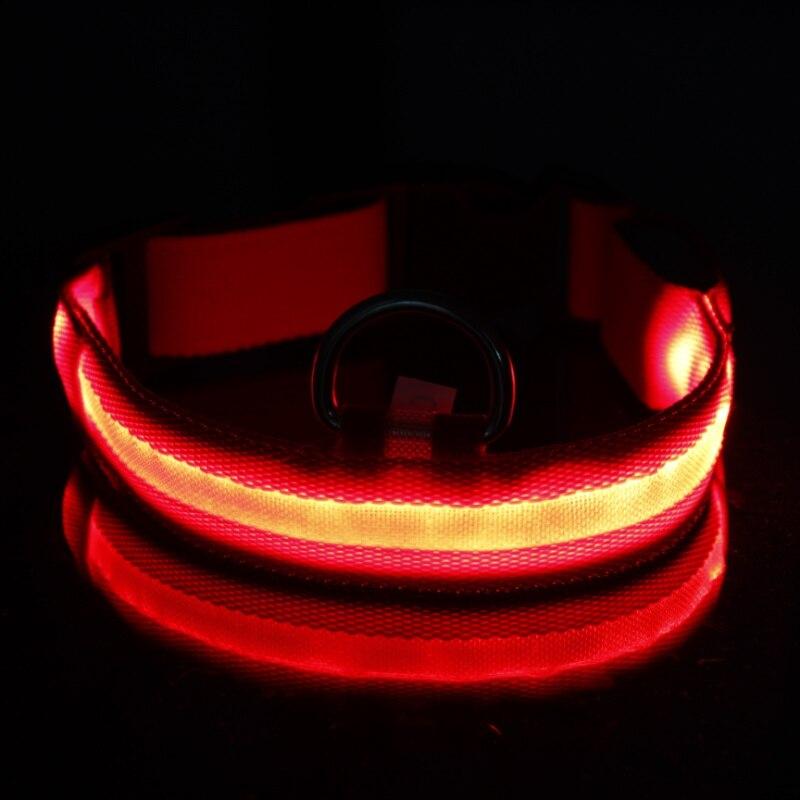 Safety Dog Collar Nylon LED Collar Light-up Flashing Glow LED Collars S M L XL Pet Products 2018 Hot Sale