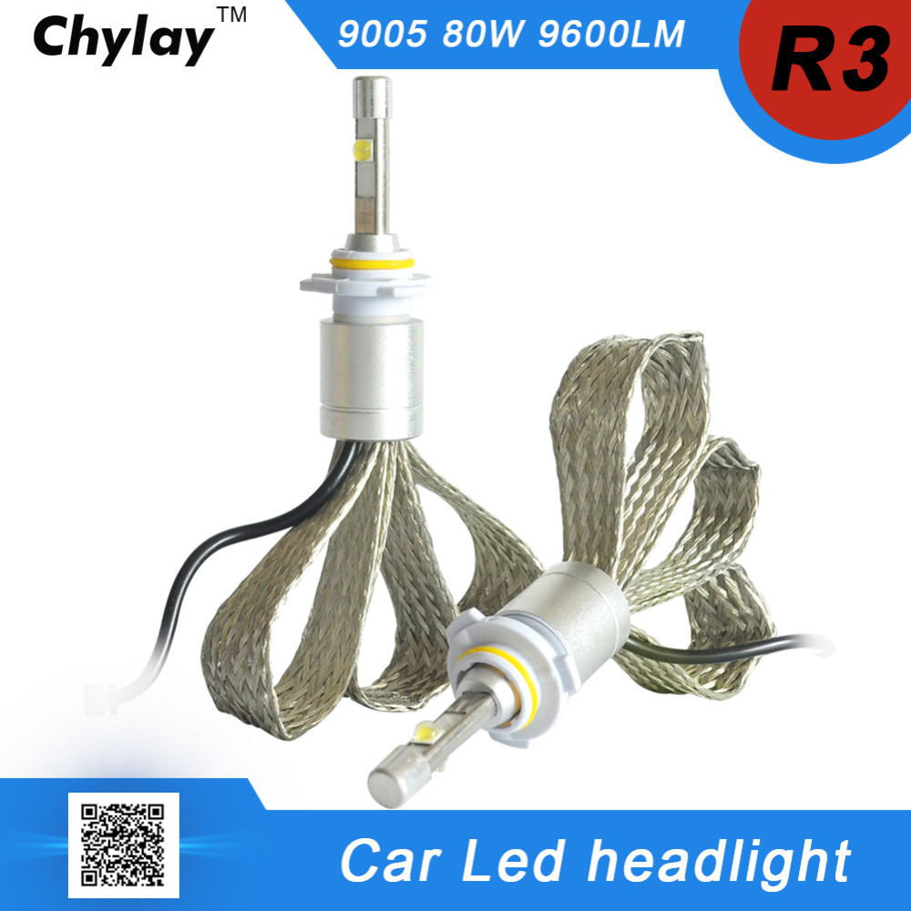 one set 9005 HB3 LED Car Headlight bulb 80W 9600lm 6000K White lamp Auto Front bulb Automobile Headlamp car light free shipping one kit super bright 6000lm car headlight hb3 9005 60w cob led auto front fog bulb automobile headlamp 6000k