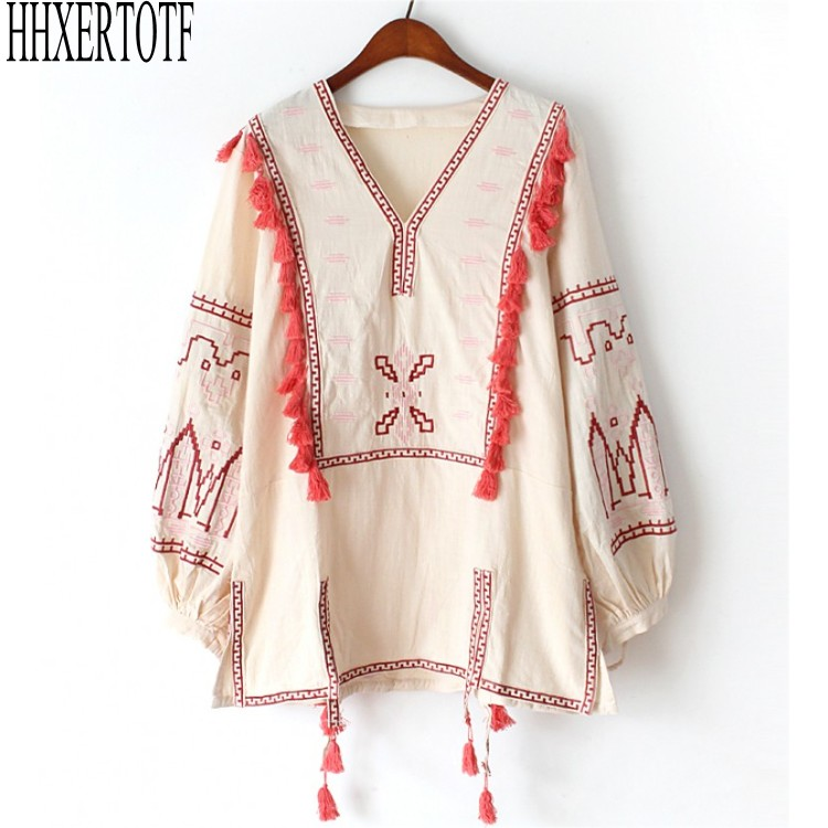 Vintage Embroidery Shirts Women Tunic Summer Clothing Loose Long Sleeve Lace-up Fringes Cotton Ethnic Blouse Shirt Blusas