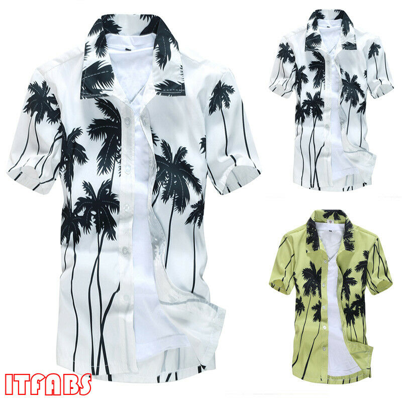 New Men Hawaiian Shirt Cruise Short Sleeve Floral Tropical Luau Henley Beach Aloha Party Caribbean Summer Casual Male Clothing