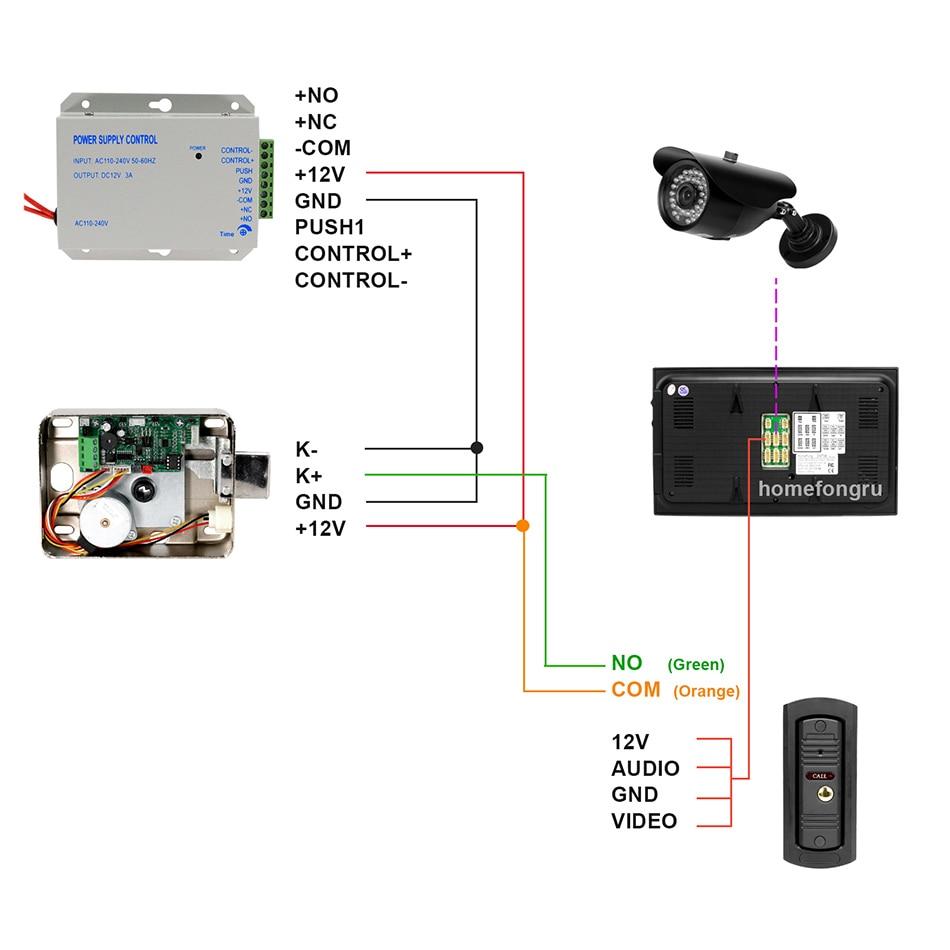 HomeFong Video Deurbel Thuis Intercom Video Deurtelefoon 7 inch Monitor 1200TVL Deurbel Camera 32G Geheugenkaart Video Intercom kit - 6