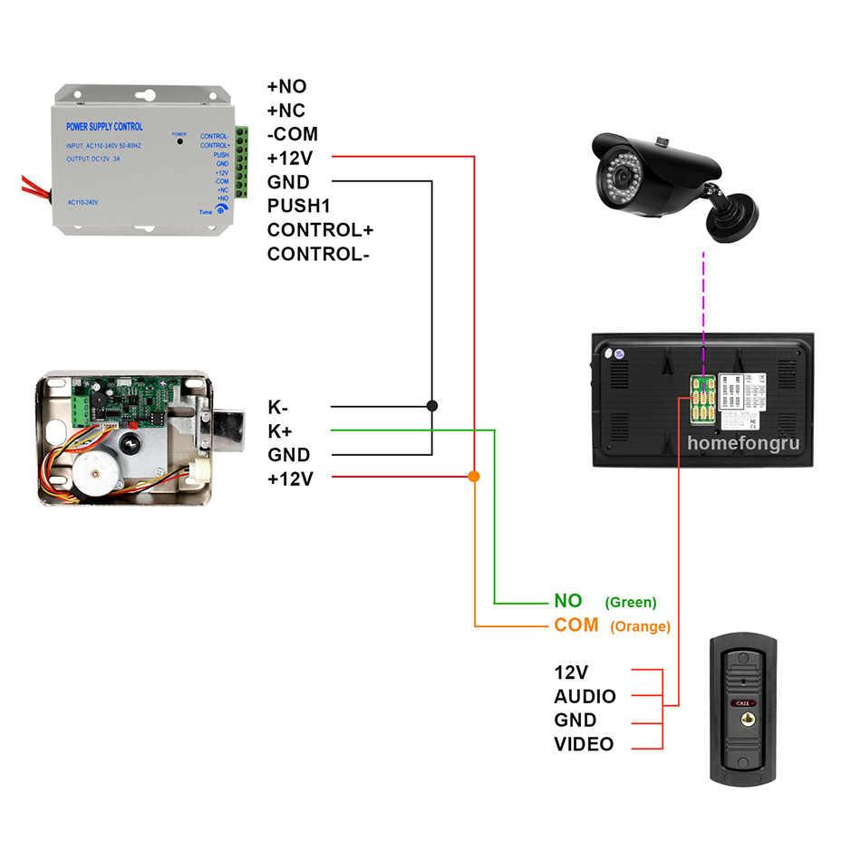 Homefong 1200TVL, timbre con cable, Panel de llamada para vídeo, puerta, intercomunicador, IR visión nocturna, resistente al agua, soporta desbloqueo de bloqueo eléctrico