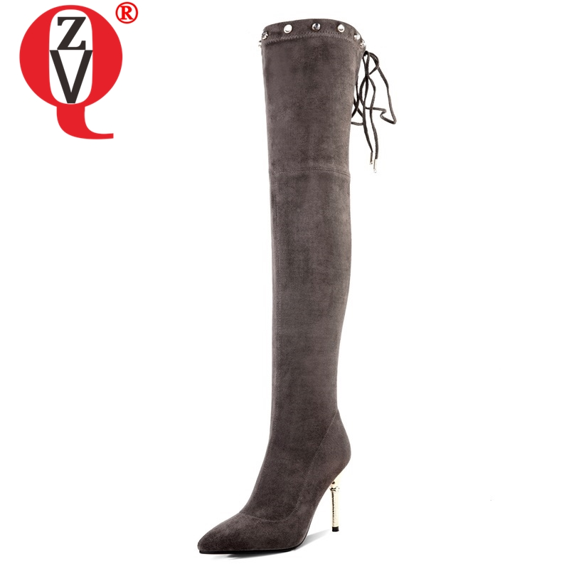 ZVQ 2018 new hot sale flock over knee boots crystal rivet super high thin heels pointed toe lace-up fashion party women shoesZVQ 2018 new hot sale flock over knee boots crystal rivet super high thin heels pointed toe lace-up fashion party women shoes