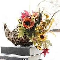 Chifre Vaso de Girassol conjunto Vaso de flores Artificiais com cesto De Plástico do Dia Das Bruxas para o outono decoração de Natal flor de abóbora