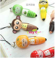 New arrival  wood animal cartoon ball pen promotional Korea Office Supplies Stationery carry creative Style Ballpoint Pen