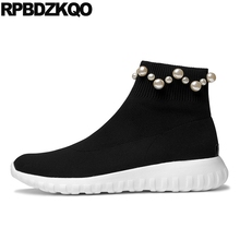 Pearl Ankle Black Stretch Designer Shoes Women Luxury 2017 Boots Sock Flat Autumn Knit Sneakers Slip