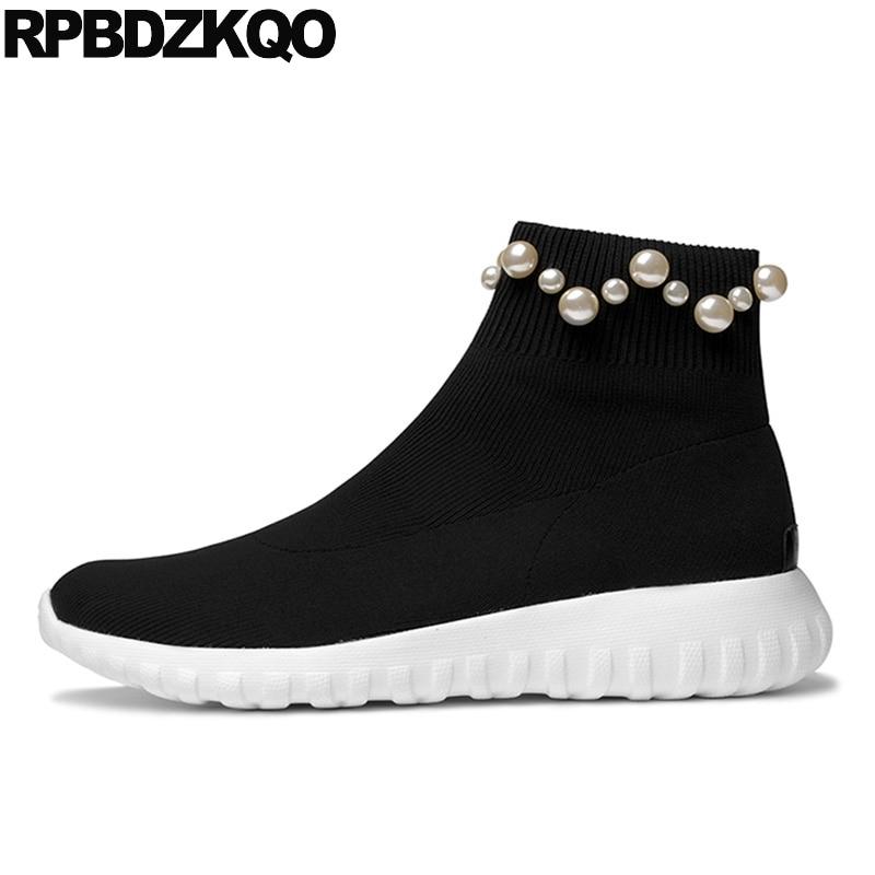 Perla Tobillo Negro Tramo Diseñador De Zapatos Mujer Lujo 2017 Botas Calcetín Planos Otoño Tejer Zapatillas Ponerse Mollete Plataforma Casual Botines Femenino Señoras Chino Corto Nuevo Moda