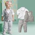 Gentleman Niños Juegos de Ropa Trajes de Fiesta de la Boda Camisa + Chaleco + Pantalones 3 unids Trajes de Bebé Niño Ropa de Los Muchachos otoño BC1262