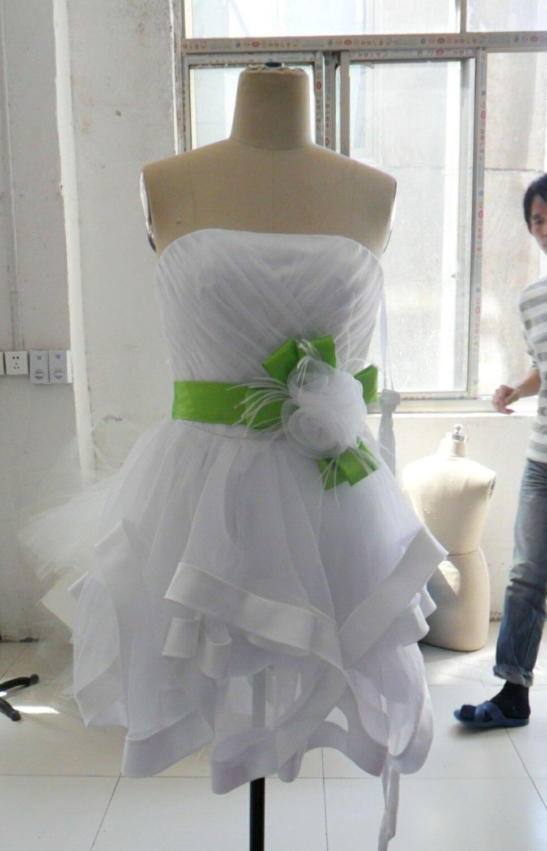 Livraison gratuite bretelles chérie vert sash robes de cocktail courte de bal robes de soirée 2017 nouveau modèles font personnalisé