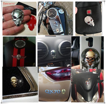 2018 New 3D Skull Sticker Metal Auto Emblem For audi a4 b9 mazda 2 h7 kia rio bmw e30 skoda fabia citroen c3 Car styling image