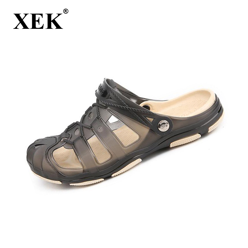 XEK 2018 Mens Sandals Summer half Slippers Fashion Man Casual High quality Soft Beach Shoes Flat Axoid Jelly sandals ST272
