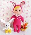 Levar cesta de cenoura coelho menina roupas de boneca de crochê Amigurumi