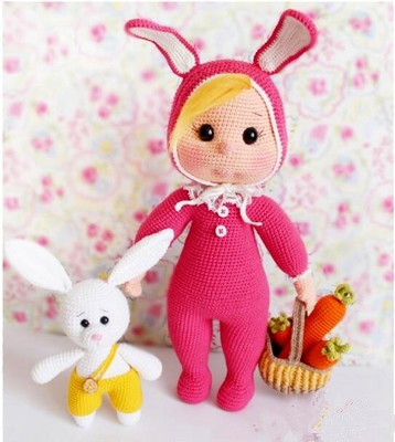 цена на take basket bunny carrot clothing girl crochet Amigurumi doll