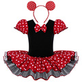 Baby Girls Minnie Mouse Mickey Cosplay Ballet Leotard Dresses Toddler Tutus Party Princess Ballet Polka Dots Dancewear for 2-8Y