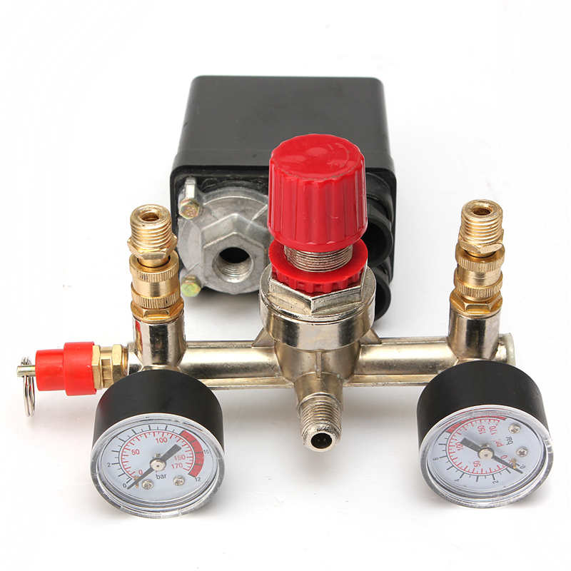 2 phase, 1 port 230V Air Compressor Pump Pressure Control Switch + 2 Valve Press Gauges Air REGULATOR HEAVY DUTY adjustable pressure switch air compressor switch pressure regulating with 2 press gauges valve control set