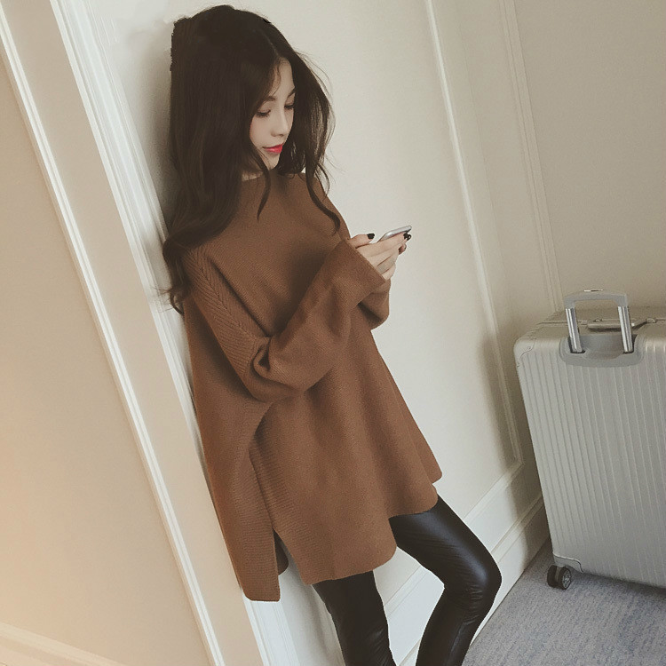 LANMREM 2018 New Summer Autumn Fashion Tide Red Turtleneck Batwing Sleeve Loose Big Size Loose All-match Woman Sweater SA851