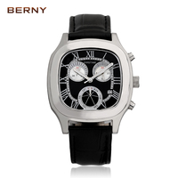 BERNY 2017 Sport Watches For Men Multifunction Leather Watchband Top Luxury Brand Males Chronograph Quartz Clock