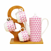 1.2L Ceramic Teapot Tea Cup Set Including 1 Wood Rack 1 Tea Pot 4 Cups Drink Coffee Cold Hot Water Chinese Green Puer Tea Teapot