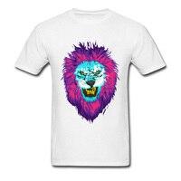남성 동물 사자 T 셔츠 뜨거운 판매 서리 왕 사자 소년 재미 3D 인쇄 T 셔츠 여름