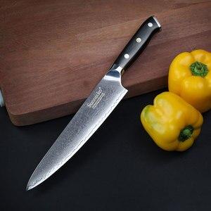 Image 3 - SUNNECKO Juego de Cuchillos de Cocina de pan de Chef Santoku, 7 Uds., utensilios de corte de Balde afilados de acero damasco VG10 de 73 capas