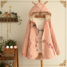 Japanese chaquetas mujer kimono vintage mori girl hippie winter Hooded Fleece fur hoodie embroidered cotton thick jacket coat