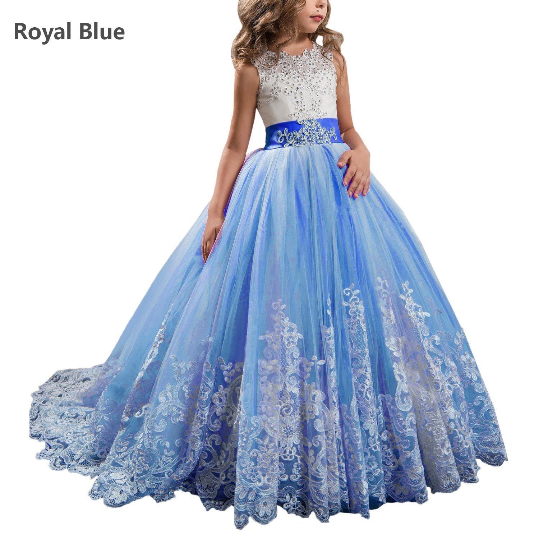 PRINCESS ROYAL BLUE FLOWER GIRL DRESS SATIN TAFFETA WEDDING FORMAL PAGEANT KIDS
