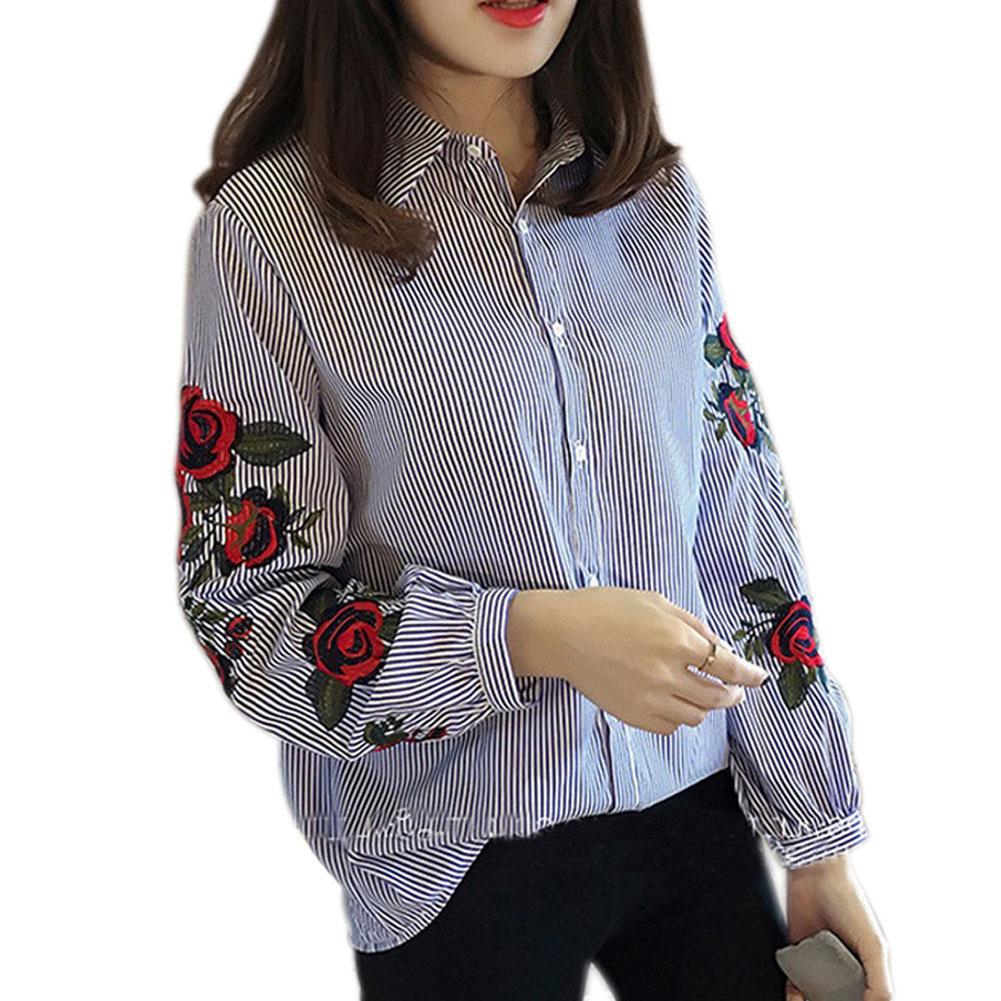 Mujeres De Larga Primavera Bordado Las Otoño Tops Moda Linterna blanco Manga Camiseta Floral Azul Jl Casual La Blusa ggqAnpwrx
