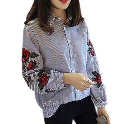 b442ba030bb4c1 Fashion Women Floral Embroidery Blouse Lantern Long Sleeve Casual Shirt  Spring Autumn Tops JL
