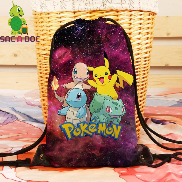 Women Galaxy Pokemon Pikachu Squirtle Backpack Universe Space Travel  Softback Drawstring Bag Mens Canvas School Backpacks
