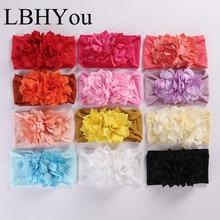 12pcs/lot Handmade Bohemia Flowers Wide Nylon Headbands,Soft Turban Head Wraps,One Size Fit Most Baby Girls Bands