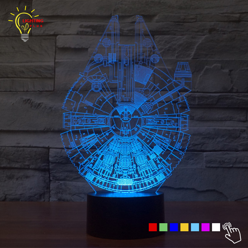 cheap Star Wars Millennium Falcon LED Night Light Children 3D Lamp Luminaria Bed Light Nightlights for Kid Room LED Home Decor pic,image LED lamps offers
