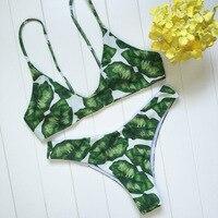 2018 Nouveau modèle de fleur vert feuille femmes bikini sangle réglable maillot de bain bas prix Brésiliens maillot de bain soutien-gorge rembourré maillots de bain
