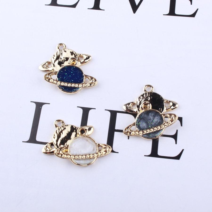 20PCS 15x26mm Oil Drop Enamel Planet Universe Star Pendant DIY Necklace Accessories Planet Charms for Bracelet Jewelry Making 4