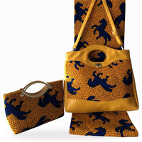 3pcs/set Popular party set African cotton Holland wax fabric (6yards/lot) nice matching with wax bags set for party FB10 2