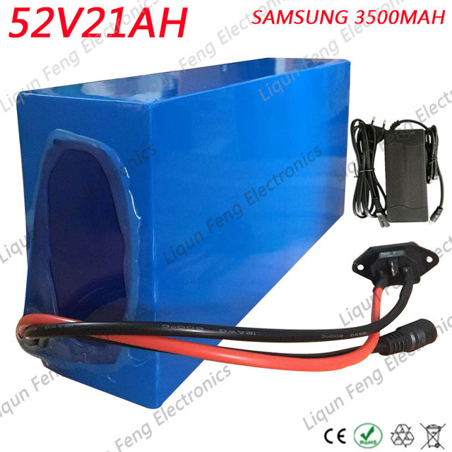 Free Customs Tax 52V 21AH Lithium battery 52V 21AH Scooter Battery 52V Ebike Battery use SAMSUNG 3500MAH cell 40A BMS 2A Charger