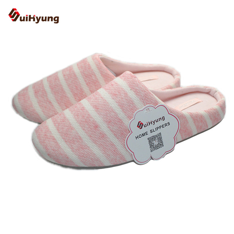 Suihyung Winter Women's Cotton Slippers Stripe Plush  Home Indoor Shoes Soft Bottom Non-slip Bedroom Female Floor Slippers fashion autumn and winter indoor home lovers cotton drag floor plush slippers female slip resistant