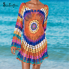 Hand Made Crochet Beach Dress Colorful Tunic for Beach Sexy Sweater Dress Sarong  Pareo Beach O-neck Casual Women  Dresss fashionable hand made crochet halter openwork swimsuit for women