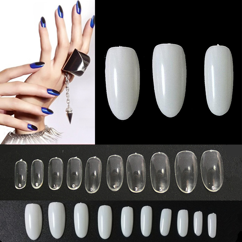 TKGOES 50 Pcs / 500 PCS Acrylic Oval Nail Tips False Nails Fullwell ...