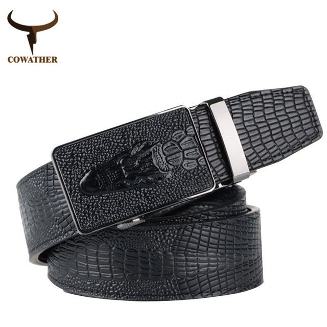 COWATHER 2016 top quality faux leather belts for men Crocodile pattern automatic buckle men belt cinto masculino free shipping