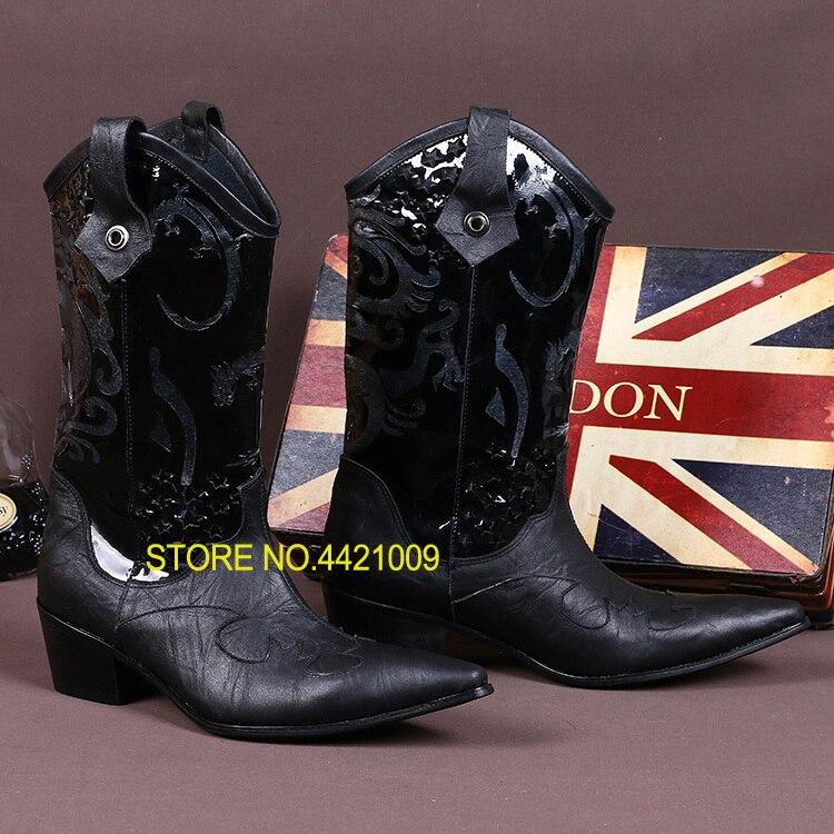 Broderie martin bottes hommes d'hiver chaussures cowboy bottes hommes en cuir véritable bout pointu punk chaussures cuissardes long armée bottes