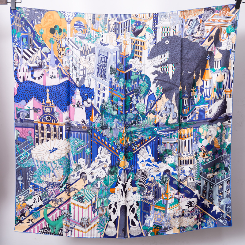 City of animals Print Pure Twill <font><b>Silk</b></font> <font><b>Scarf</b></font> Big Square <font><b>Scarves</b></font> Shawl Match Pashmina High Neck Wear <font><b>90x90</b></font> Accessory FJ126 image