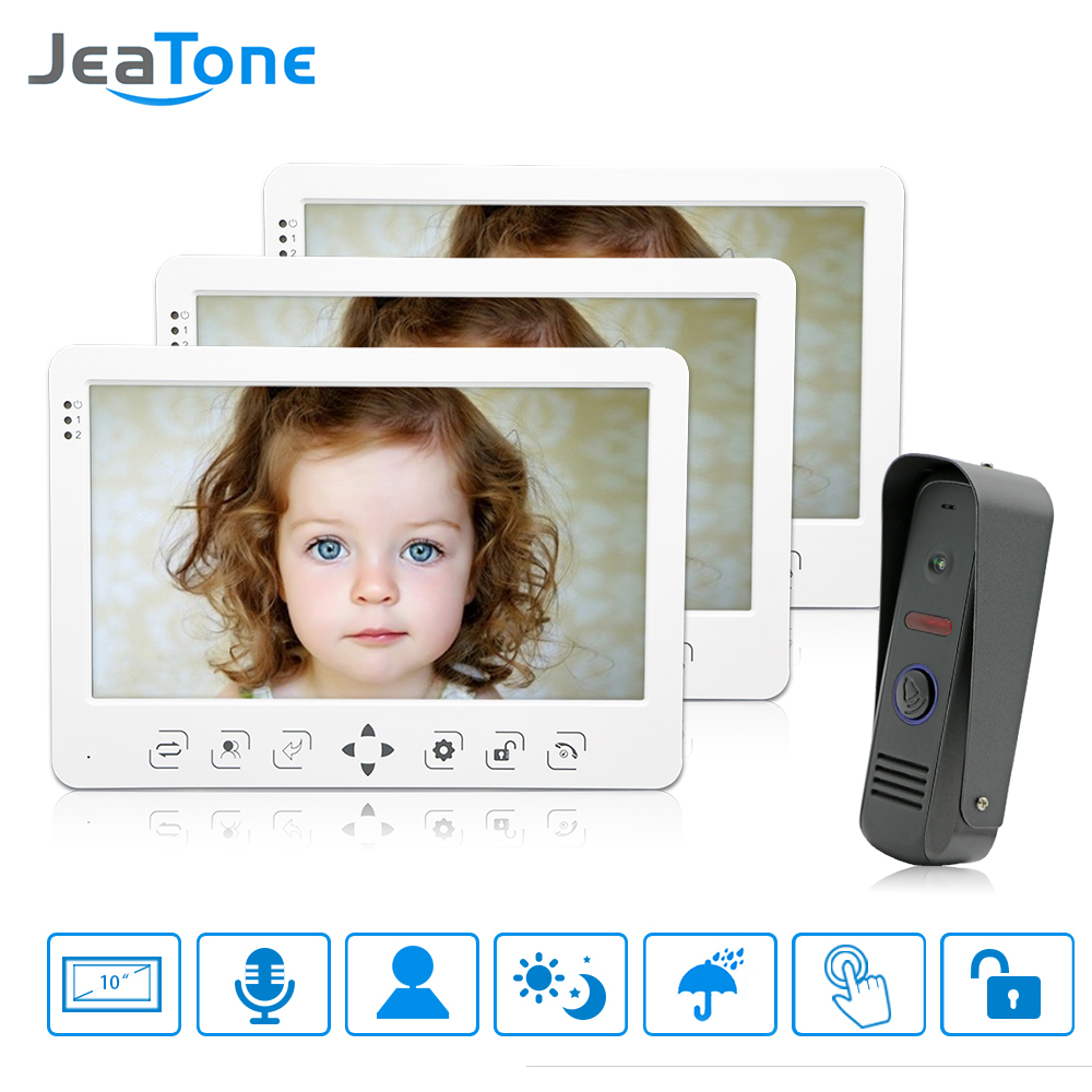 JeaTone 10 Home Security Video Doorphone Intercom Doorbell system Piano Lacquer Shell Indoor Monitor IR Night Vision Camera Kit zilnk video intercom hd 720p wifi doorbell camera smart home security night vision wireless doorphone with indoor chime silver